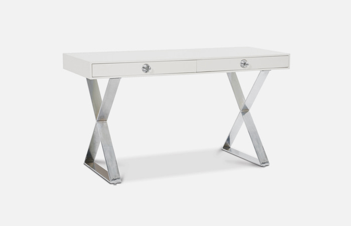 Channing Desk (White/Silver)