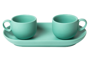Set 2 coffee cups with tray Turquoise